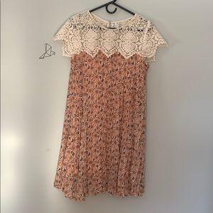 Whimsical crochet detail dress. Maternity
